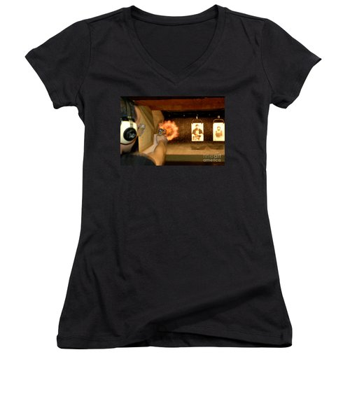 At The Gun Gange Women's V-Neck T-Shirt (Junior Cut) by Micah May