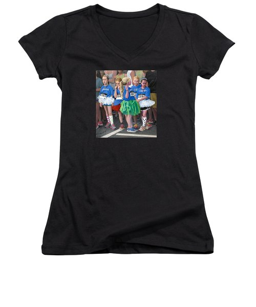 At The Start Of Their Run Women's V-Neck T-Shirt (Junior Cut) by Mark Lunde