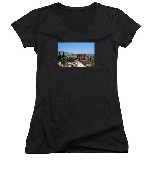 Women's V-Neck T-Shirt (Junior Cut) featuring the photograph Athens by Robert Moss