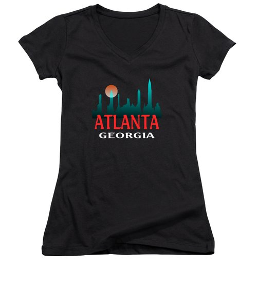 Atlanta Georgia Design Women's V-Neck (Athletic Fit)