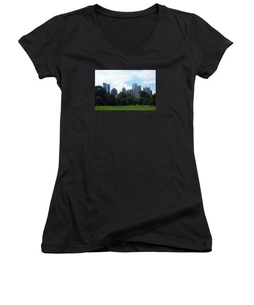Women's V-Neck T-Shirt (Junior Cut) featuring the photograph Atlanta Skyline by Jake Hartz