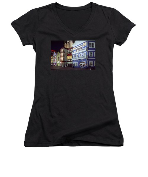 Women's V-Neck T-Shirt (Junior Cut) featuring the photograph Atlantic City Boardwalk At Night by Sally Weigand