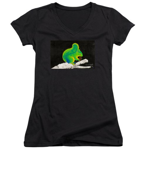 Atomic Squirrel Women's V-Neck T-Shirt (Junior Cut) by Stefanie Forck