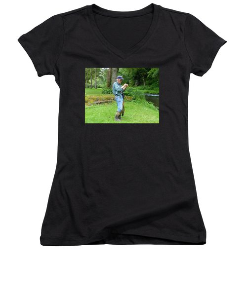 Attaching The Lure Women's V-Neck