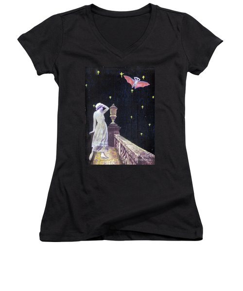 Women's V-Neck T-Shirt (Junior Cut) featuring the mixed media Attempted Pick Up by Desiree Paquette