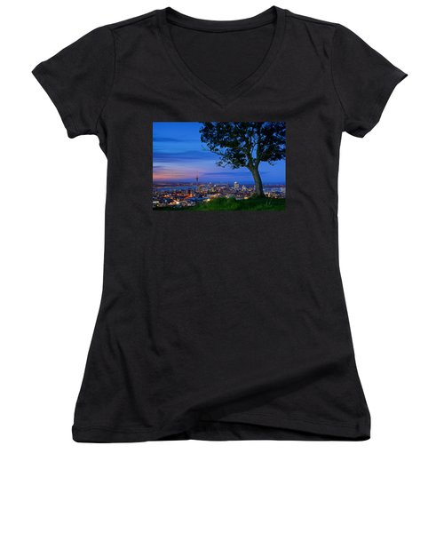 Auckland Women's V-Neck T-Shirt (Junior Cut) by Evgeny Vasenev