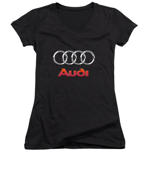 Audi 3 D Badge On Black Women's V-Neck T-Shirt (Junior Cut) by Serge Averbukh