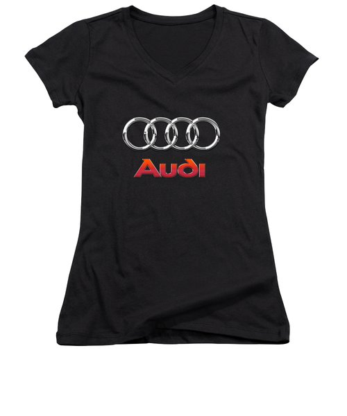 Audi 3 D Badge On Black Women's V-Neck