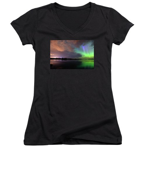 Aurora And Storm Clouds Women's V-Neck (Athletic Fit)