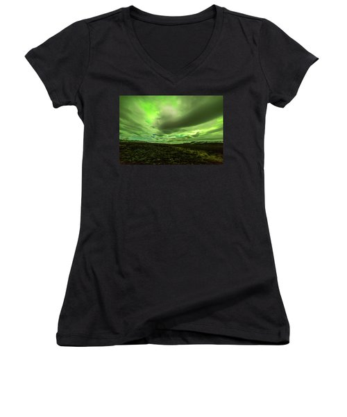 Aurora Borealis Over A Frozen Lake Women's V-Neck (Athletic Fit)