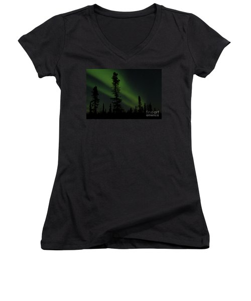 Aurora Borealis The Northern Lights Interior Alaska Women's V-Neck T-Shirt