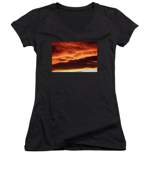 Aurora Firey Sunset Women's V-Neck (Athletic Fit)