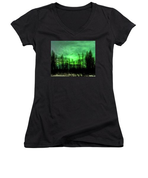 Aurora In The Clouds Women's V-Neck