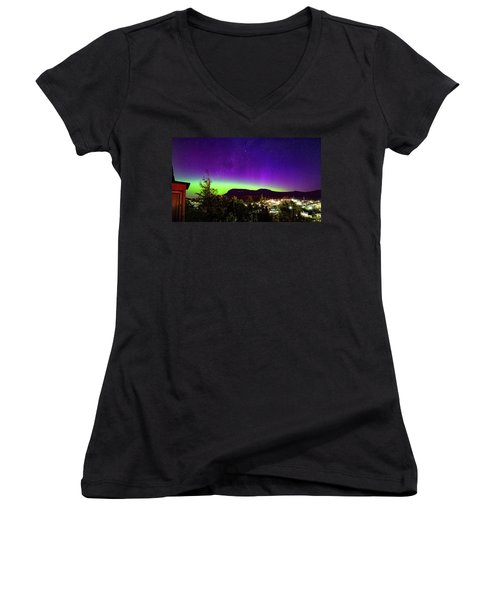 Women's V-Neck T-Shirt (Junior Cut) featuring the photograph Aurora Over Mt Wellington, Hobart by Odille Esmonde-Morgan