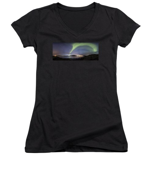 Aurora Polaris Panoramic Women's V-Neck T-Shirt