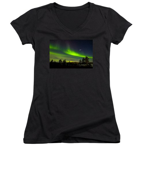 Aurora With Meteor  Women's V-Neck (Athletic Fit)