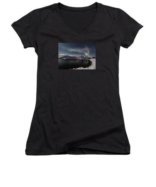 Auroras Over The Bay Women's V-Neck T-Shirt