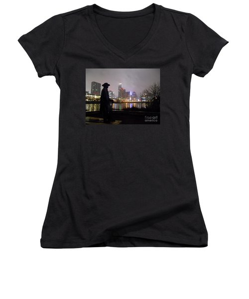 Austin Hike And Bike Trail - Iconic Austin Statue Stevie Ray Vaughn - One Women's V-Neck T-Shirt