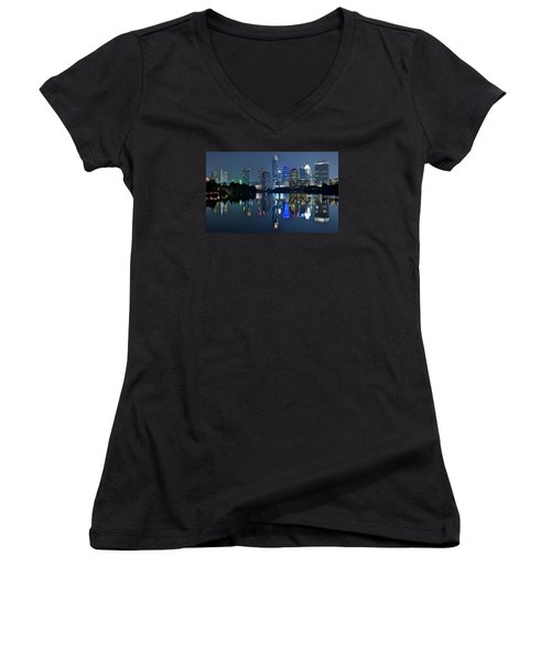 Austin Night Reflection Women's V-Neck T-Shirt (Junior Cut) by Frozen in Time Fine Art Photography