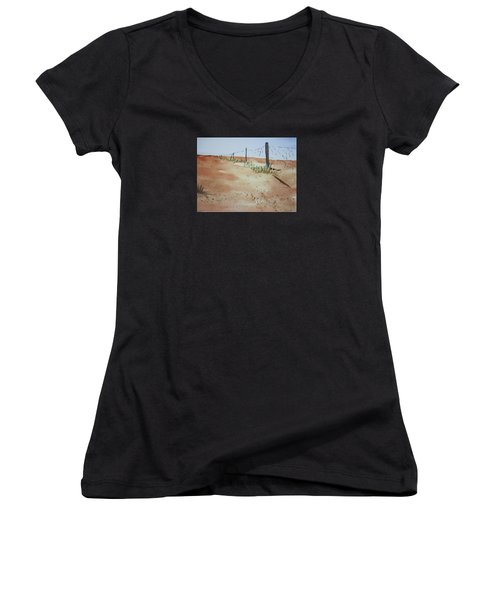 Australian Outback Track Women's V-Neck T-Shirt (Junior Cut) by Elvira Ingram