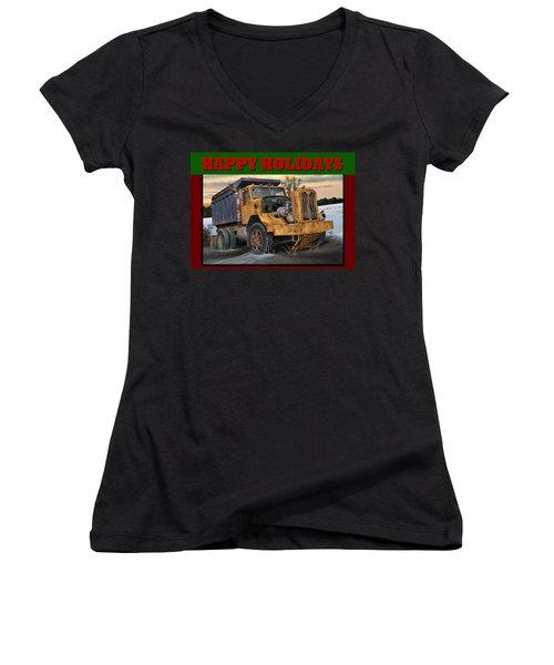 Women's V-Neck T-Shirt (Junior Cut) featuring the digital art Autocar Happy Holidays by Stuart Swartz