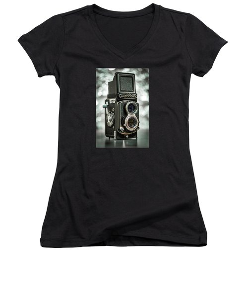 Women's V-Neck T-Shirt (Junior Cut) featuring the photograph Autocord by Keith Hawley