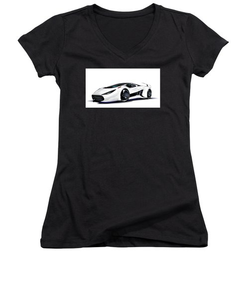 Women's V-Neck T-Shirt featuring the drawing Automobili Lamborghini Concept by Brian Gibbs
