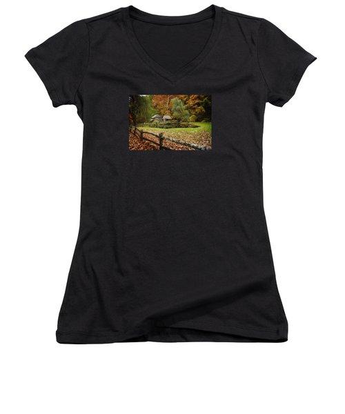 Autumn At Cuttalossa Farm V Women's V-Neck T-Shirt (Junior Cut) by Debra Fedchin