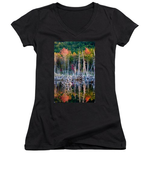 Autumn At Moosehead Bog Women's V-Neck