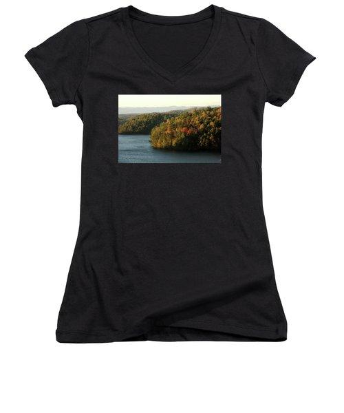 Women's V-Neck T-Shirt (Junior Cut) featuring the photograph Autumn At Philpott Lake, Virginia by Emanuel Tanjala