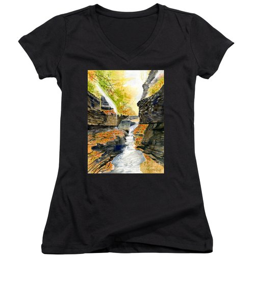 Autumn At Rainbow Falls  Women's V-Neck T-Shirt