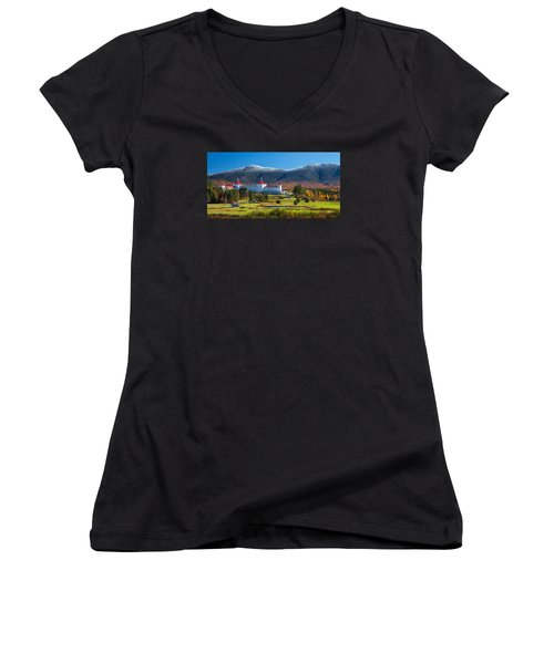 Autumn At The Mount Washington Crop Women's V-Neck T-Shirt