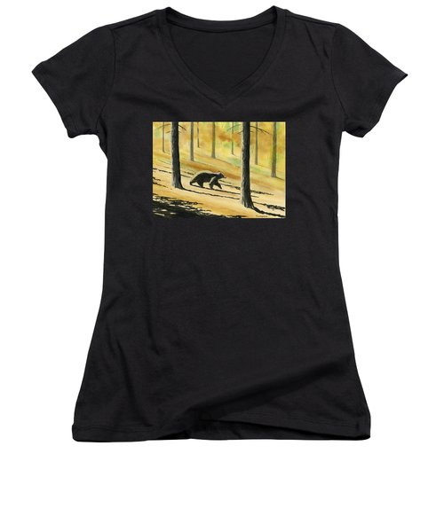 Autumn Bear Women's V-Neck (Athletic Fit)