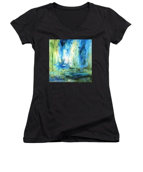 Spring Rain  Women's V-Neck T-Shirt (Junior Cut) by Laurie Rohner
