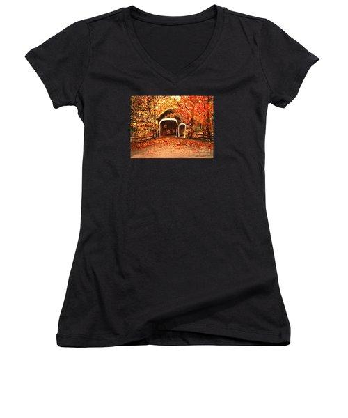 Autumn Bike Ride Women's V-Neck T-Shirt