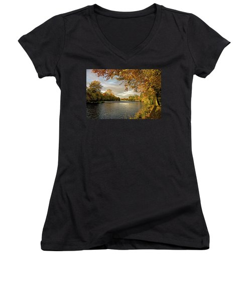 Women's V-Neck T-Shirt (Junior Cut) featuring the photograph Autumn By The River Ness by Jacqi Elmslie