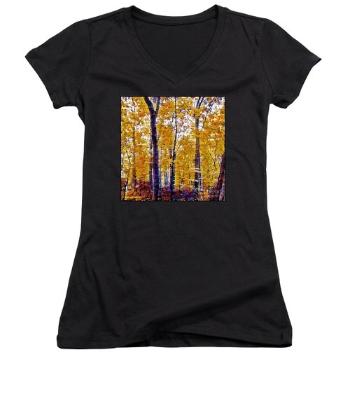 Autumn  Day In The Woods Women's V-Neck T-Shirt (Junior Cut) by MaryLee Parker