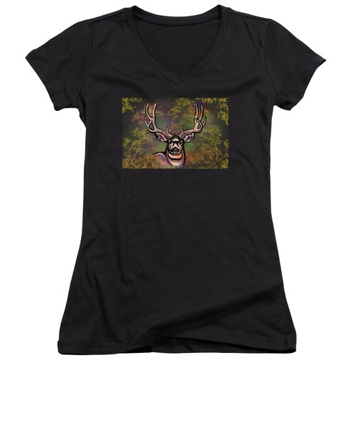 Autumn Deer Abstract Women's V-Neck (Athletic Fit)