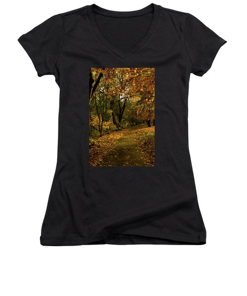 Women's V-Neck T-Shirt (Junior Cut) featuring the photograph Autumn / Fall By The River Ness by Jacqi Elmslie