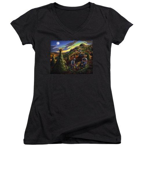 Autumn Farmers Shucking Corn Appalachian Rural Farm Country Harvesting Landscape - Harvest Folk Art Women's V-Neck T-Shirt (Junior Cut) by Walt Curlee