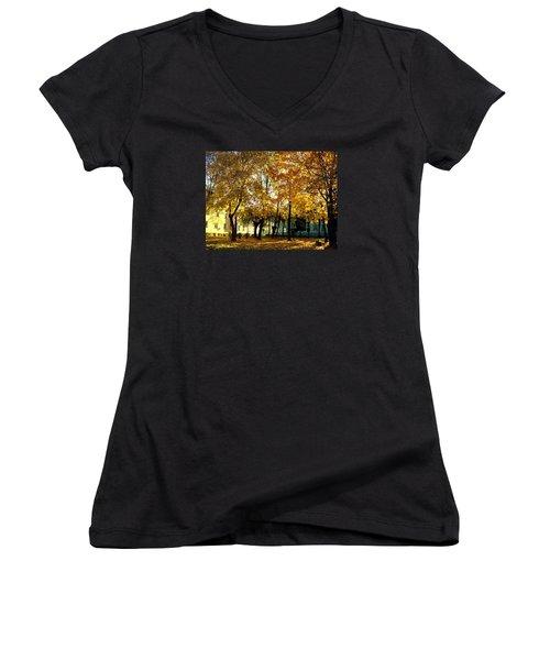 Autumn Festival Of Colors Women's V-Neck T-Shirt (Junior Cut) by Henryk Gorecki