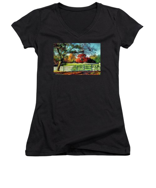 Autumn Field On The Farm Women's V-Neck