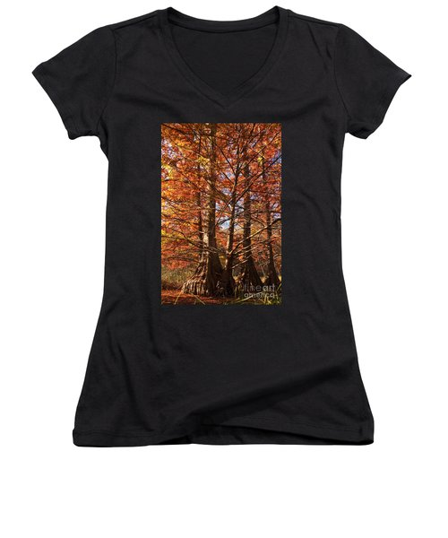 Women's V-Neck T-Shirt (Junior Cut) featuring the photograph Autumn Grandeur At Lake Murray by Tamyra Ayles
