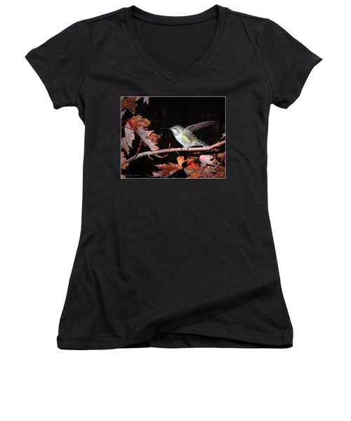 Women's V-Neck T-Shirt (Junior Cut) featuring the photograph Autumn Hummer by Joyce Dickens