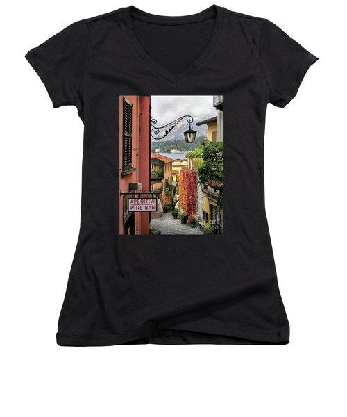 Autumn In Bellagio Women's V-Neck T-Shirt (Junior Cut) by Jennie Breeze