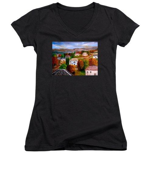 Autumn In Greece Women's V-Neck T-Shirt