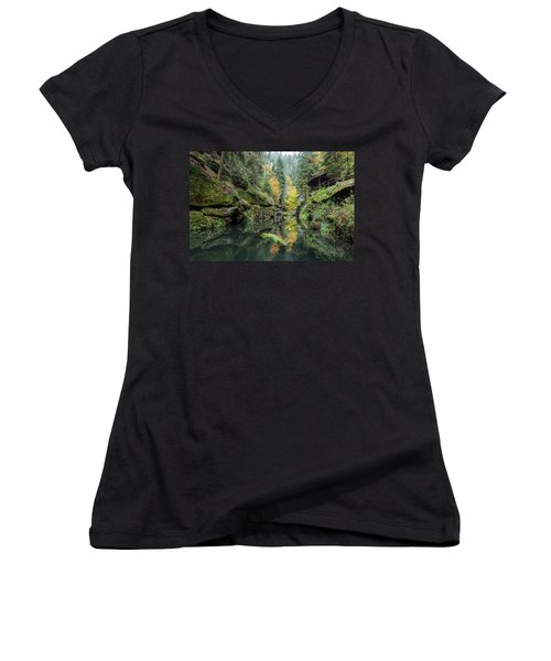 Autumn In The Kamnitz Gorge Women's V-Neck T-Shirt (Junior Cut) by Andreas Levi