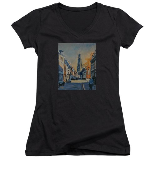 Autumn In The Lange Nieuwstraat Utrecht Women's V-Neck T-Shirt (Junior Cut) by Nop Briex