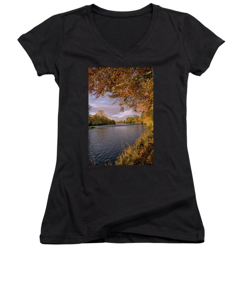 Women's V-Neck T-Shirt (Junior Cut) featuring the photograph Autumn Light By The River Ness by Jacqi Elmslie