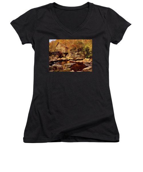 Autumn Mill Women's V-Neck T-Shirt (Junior Cut) by L O C